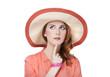 Beautiful redhead girl in hat