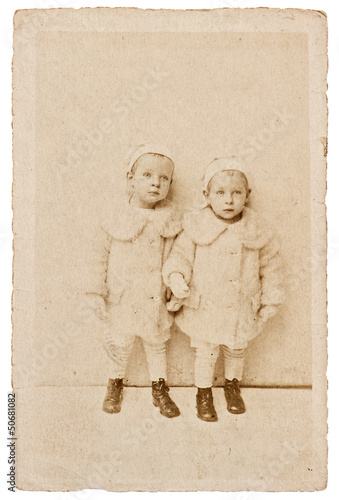 antique portrait of two kids