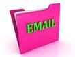 EMAIL bright green letters on a pink folder