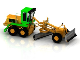 Yellow grader with green cabin