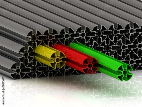 Metal profile of red, yellow and green