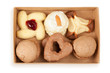 Several kinds of cookies and cakes in open box