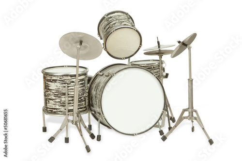Black-and-white drum kit