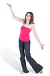 Dancing barefooted young woman in blue jeans and red blouse
