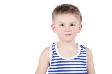 Half-length portrait of boy in striped singlet