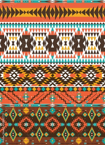 Aztec colorful geometric seamless pattern with arrow