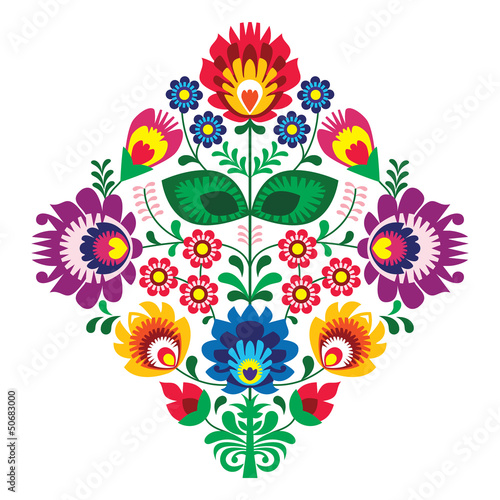 Folk embroidery with flowers - traditional polish pattern