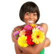 Smiling female with fresh flowers