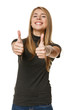 Excited young success woman giving thumbs up