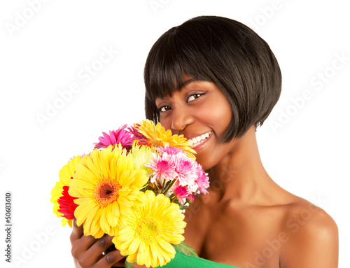 African woman with spring flowers
