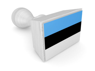 Wooden stamp with estonian flag.
