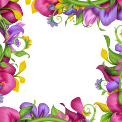abstract exotic tropical flower petal frame