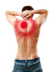 Young man with pain on upper back, isolated on white background