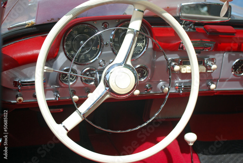 Deurstickers Oude auto s vintage car steeling wheel and dashboard