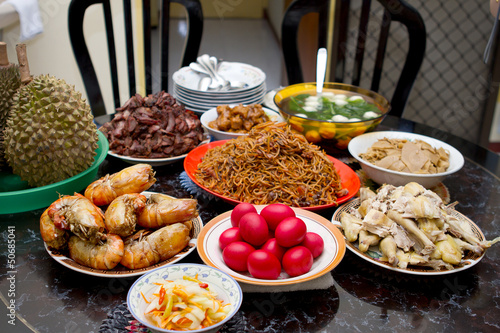 Various food on a table