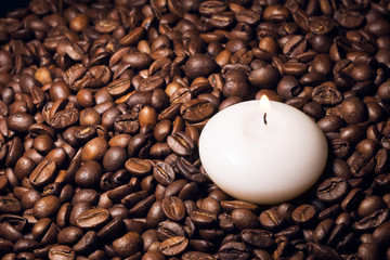 Coffee beans and candle