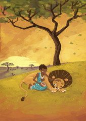 mujer con león