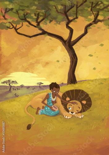 Fototapeten,frau,löwe,afrika,savanna