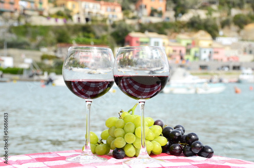 Pair of wineglasses and grapes against the harbour of Portvenere