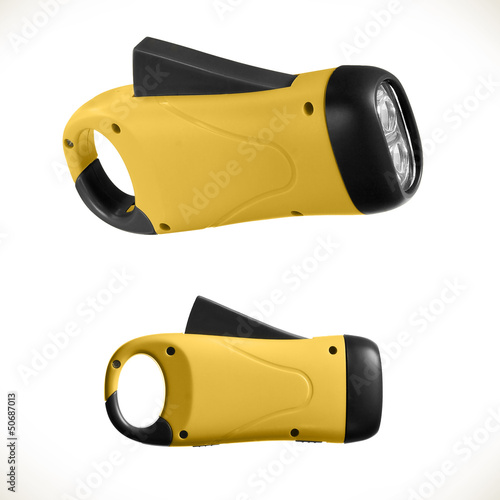 Green and black dynamometric flashlight isolated on white