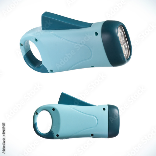 Blue dynamometric flashlight isolated on white