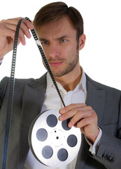 businessman with the film reel