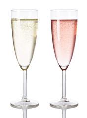 Champagner weiß und rosé isoliert