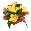 Colorful flower bouquet from orchids and lilies arrangement cent