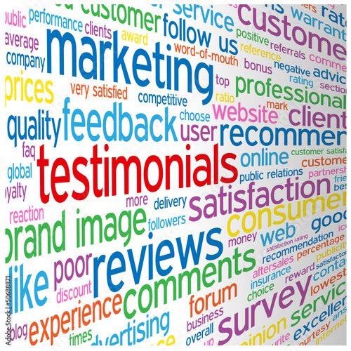 TESTIMONIALS Tag Cloud (satisfaction survey comments feedback)