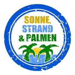 stempel rund sonne strand und palmen I
