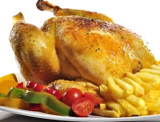 Banquete con pollo asado.