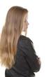 Hübsches Mädchen mit langen Haaren im Profil