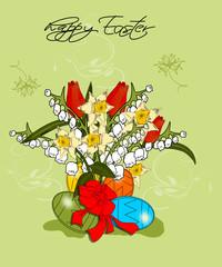Ostern, Karte mit Blumen und Osterei
