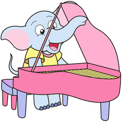 Cartoon Elephant Playing a Pinao