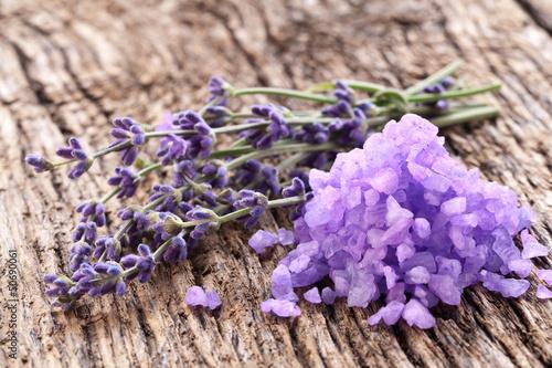 Bunch of lavender and sea salt. © volff