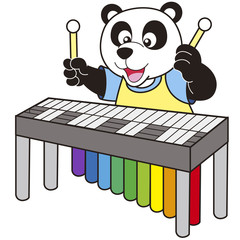 Cartoon Panda Playing a Vibraphone