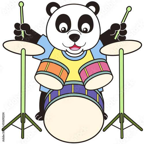 Cartoon Panda Playing Drums