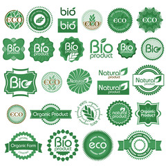 Eco - bio - natural labels. Set 1.