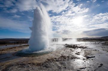 Geyser exloding in Iceland
