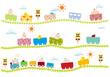 子供向け赤ちゃんが乗った可愛い踏切のある線路を走る電車