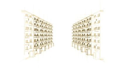animierte Zeichnung einer städtischen Straße mit Apartments (HD)