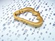 Networking concept: Golden Cloud on digital background