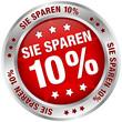 """Button """"Sie sparen 10%"""" rot/silber"""
