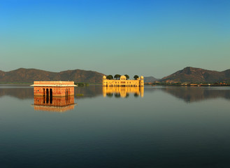 landscape with jal mahal on lake in Jaipur