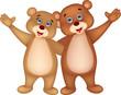 Bear couple cartoon waving hands