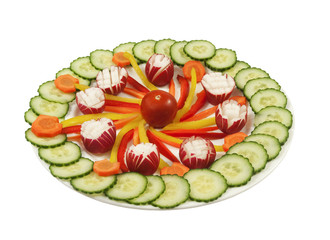 plate full with fresh vegetables on a white background
