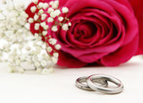 Wedding rings with pink rose Hochzeitsringe mit Rose