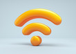 Wireless network symbol. Wifi 3d icon.