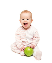 cute happy baby with fruit green apple isolated