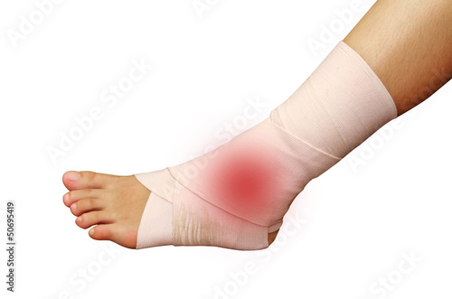foot and ankle injury wrapped in bandage